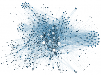Graph representing the metadata of thousands of archive documents, documenting the social network of hundreds of League of Nations personals (CC-by MARTIN GRANDJEAN - 2014)